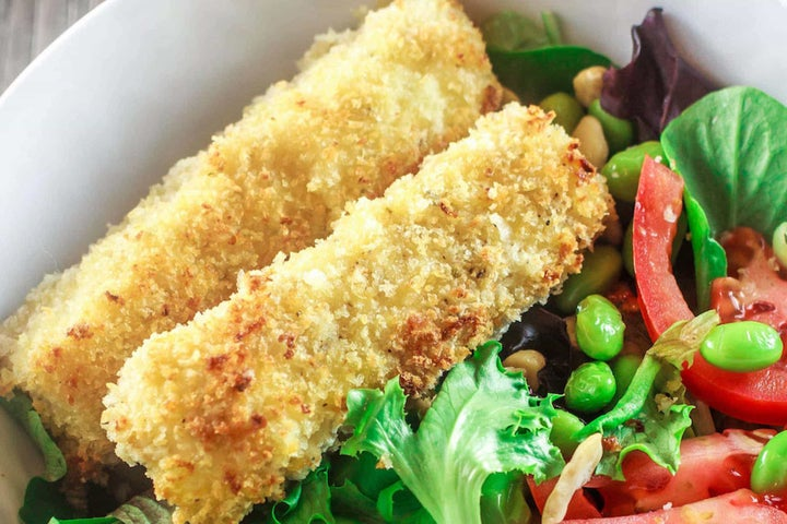 Easy Homemade Fish Sticks with Spring Salad