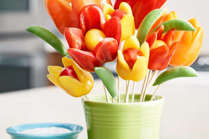 Flower Power Bell Peppers and Ranch Dip
