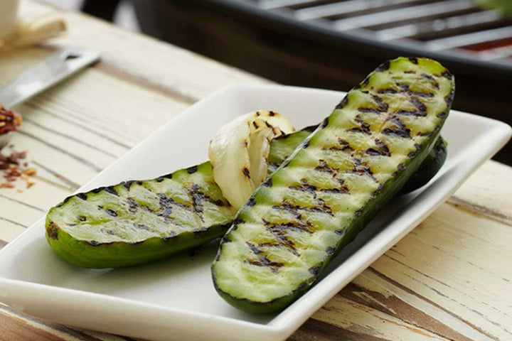 Grilled Pickles and Onions with Ranch Dressing