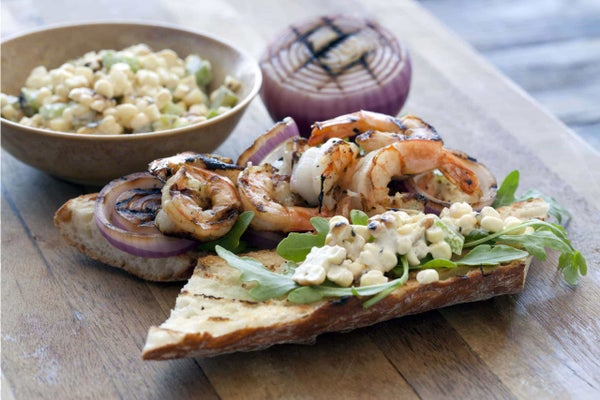 Grilled Shrimp Po Boy Sandwiches with Corn Relish