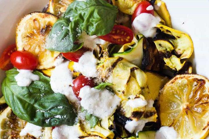 Grilled Zucchini and Squash Ribbon Salad