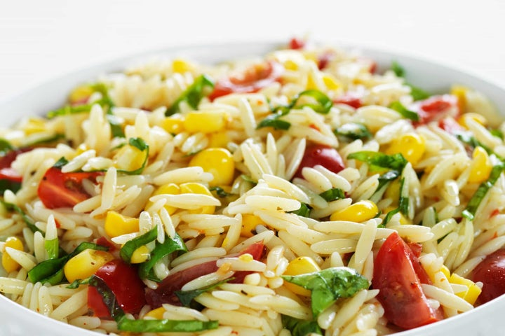 Orzo Pasta Salad with Tomatoes, Corn and Basil
