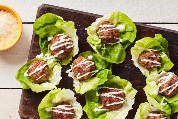 Ranch Meatballs in Lettuce Cups