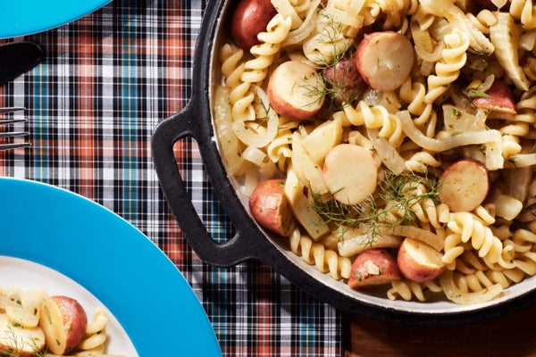 Pasta with Pan Roasted Fennel, Potato & Onion