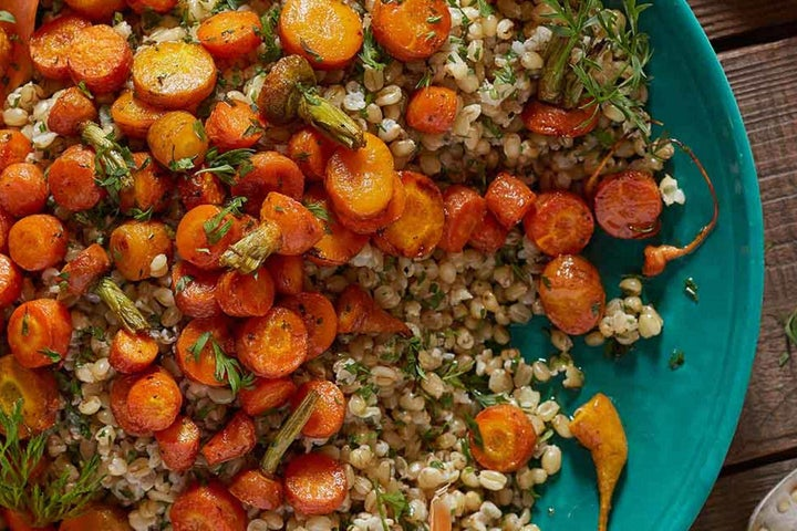 Roasted Baby Carrots with Honey and Wheat Berries
