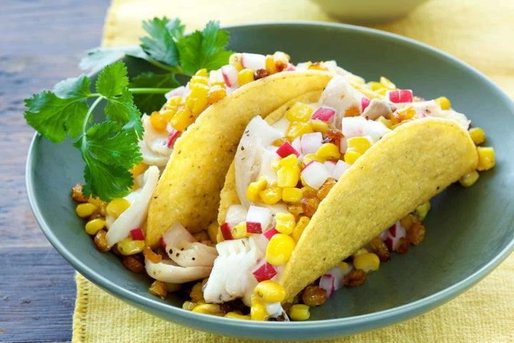 Roasted Corn and Radish Fish Tacos