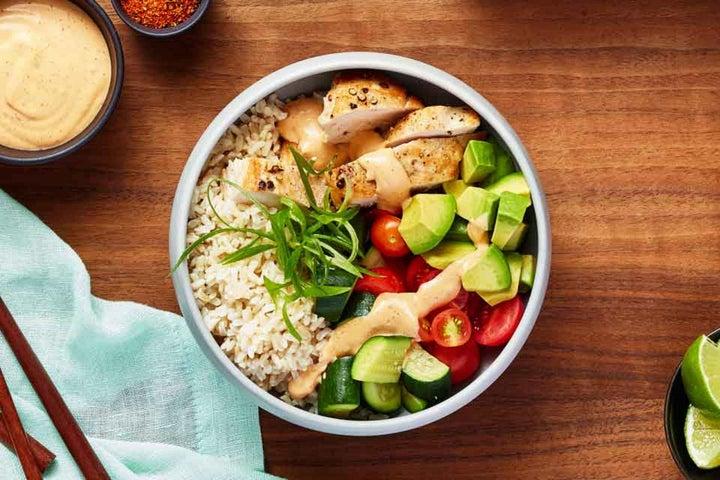 Chipotle Ranch Chicken, Avocado, Zucchini Rice Bowl