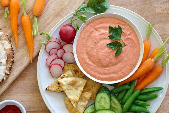 Spicy Roasted Red Pepper Yogurt Dip
