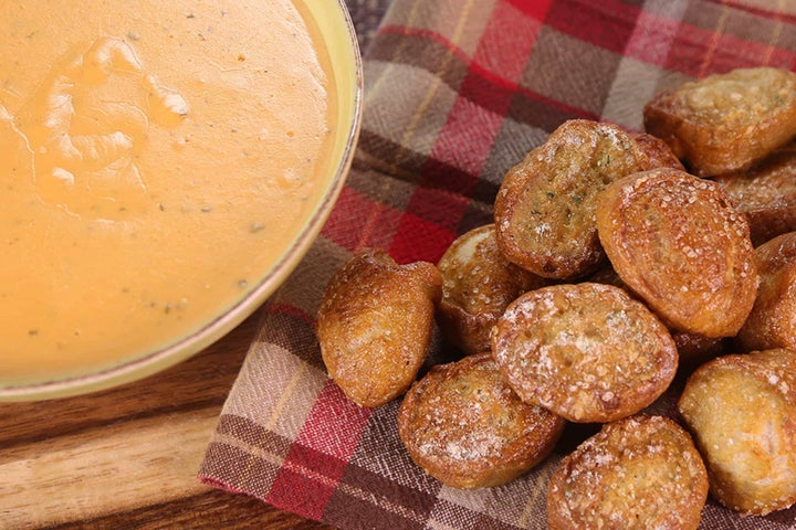 Triple-Cheese Tailgate Ranch Dip with Pretzel Bites